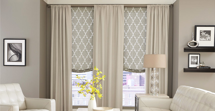 Roman shades call to mind the look of fine draperies while for Decor blinds and shades